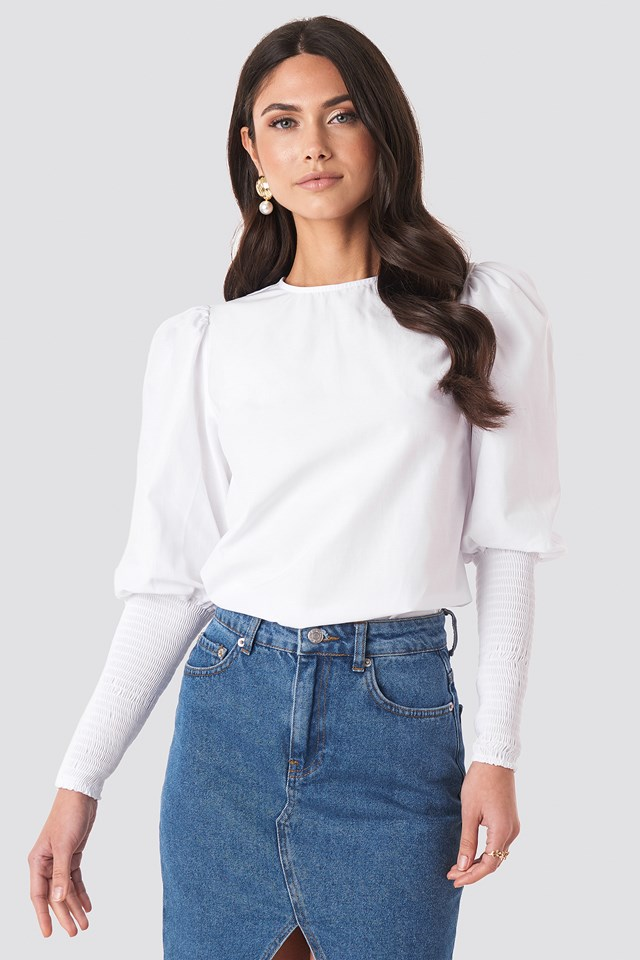 Smock Sleeve Detail Blouse White