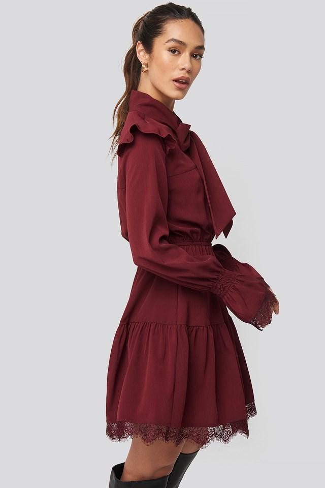 Smocked Flounce Lace Detail Dress Burgundy