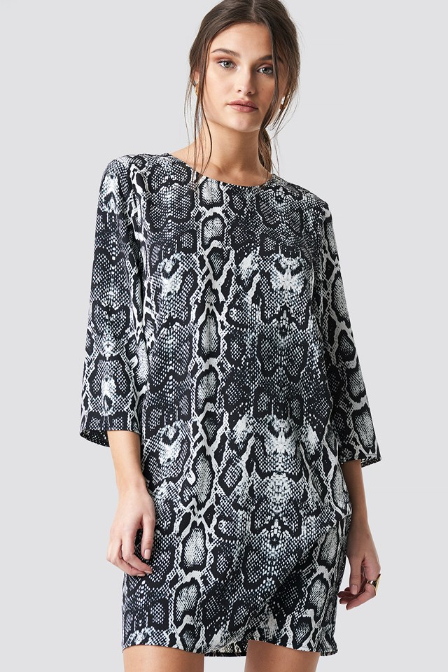 Snake Print Drop Waist Mini Dress Black/White Snake PU