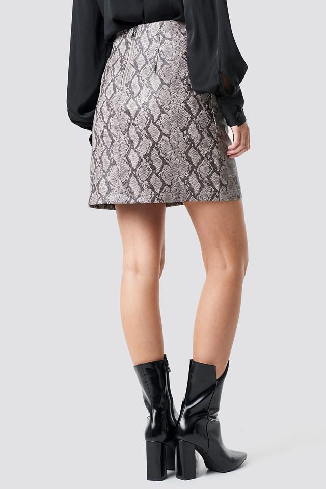 Snake Print Mini Skirt Tan Snake