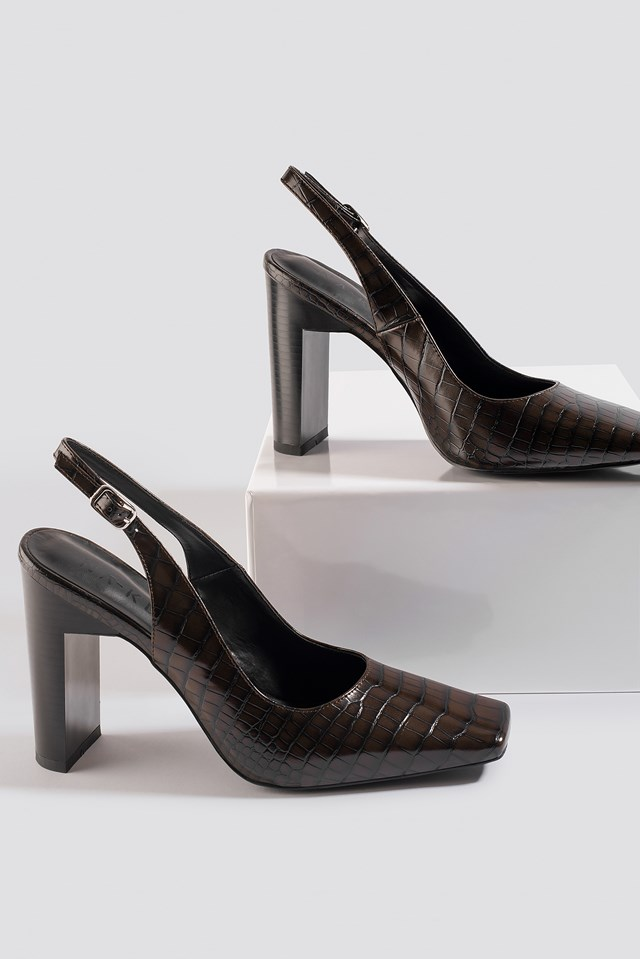 Snake Squared Front Slingback Pumps Brown Reptile