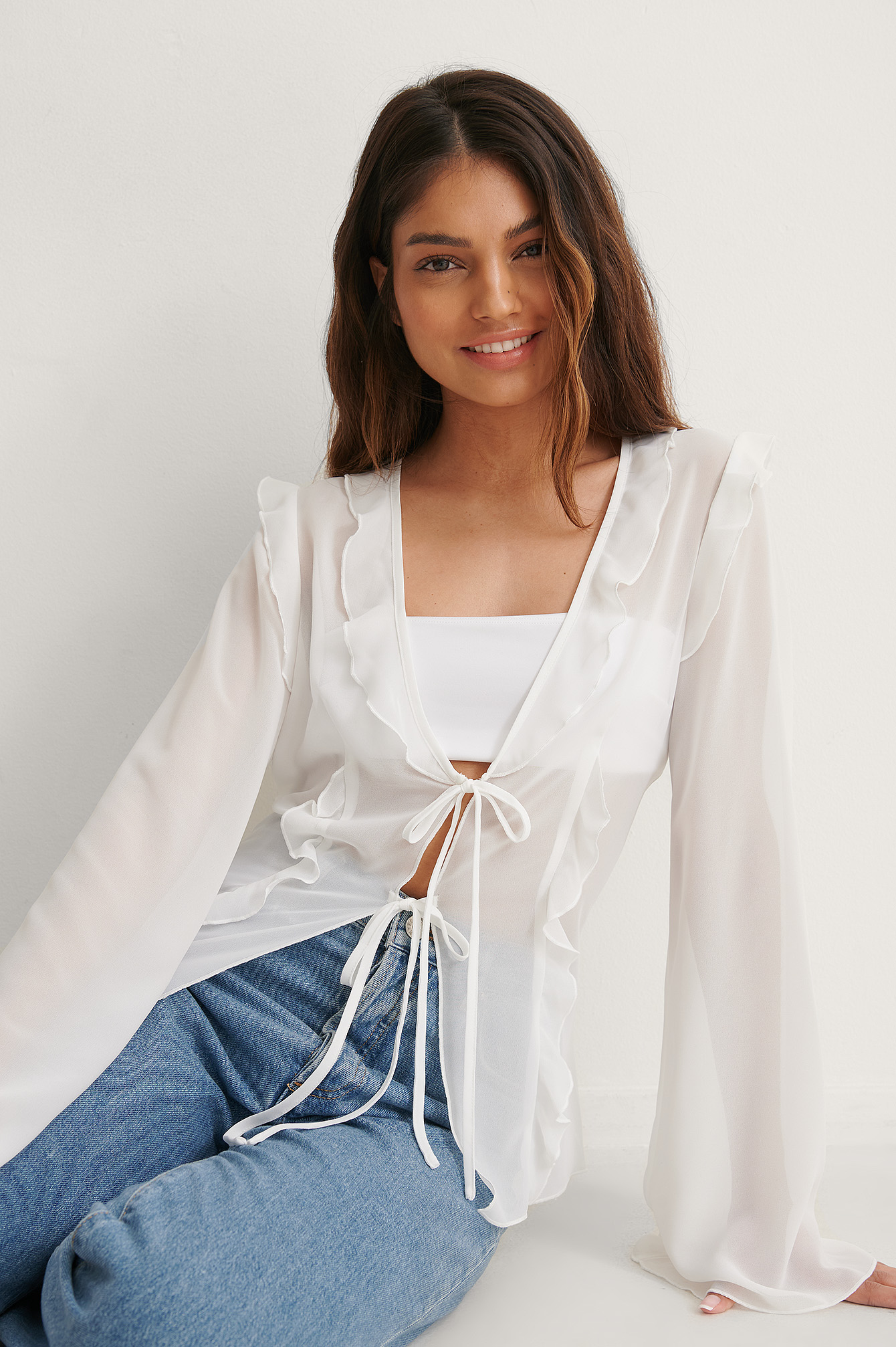 Off White Recycled Tie Front Blouse