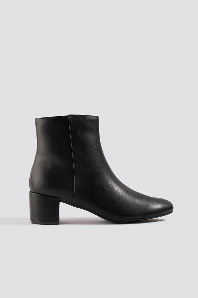 Soft Low Heel Booties Black