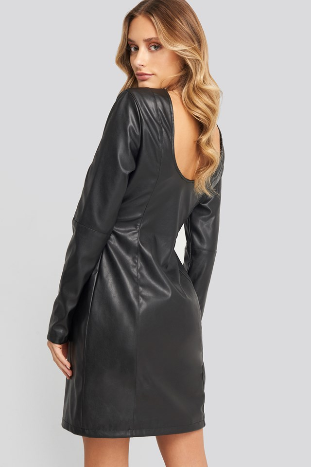 Soft Mini LS PU Dress Black