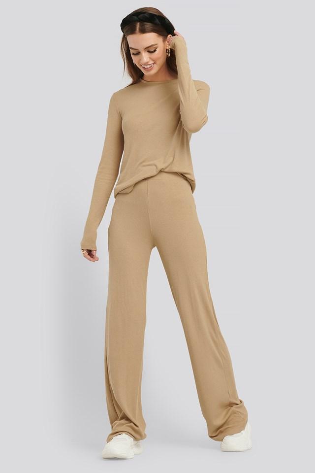 Soft Ribbed Wide Basic Pants Beige