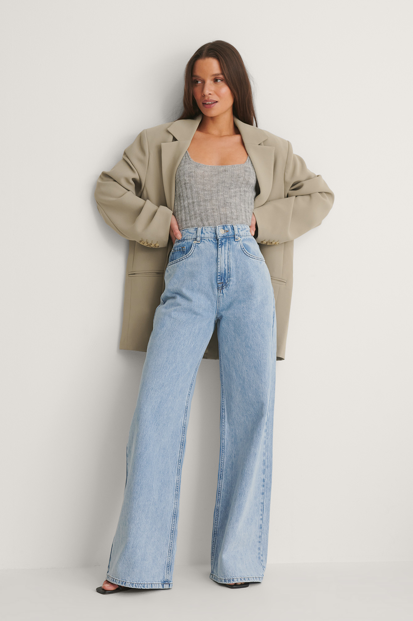 Light Blue Soft Rigid Wide Jeans
