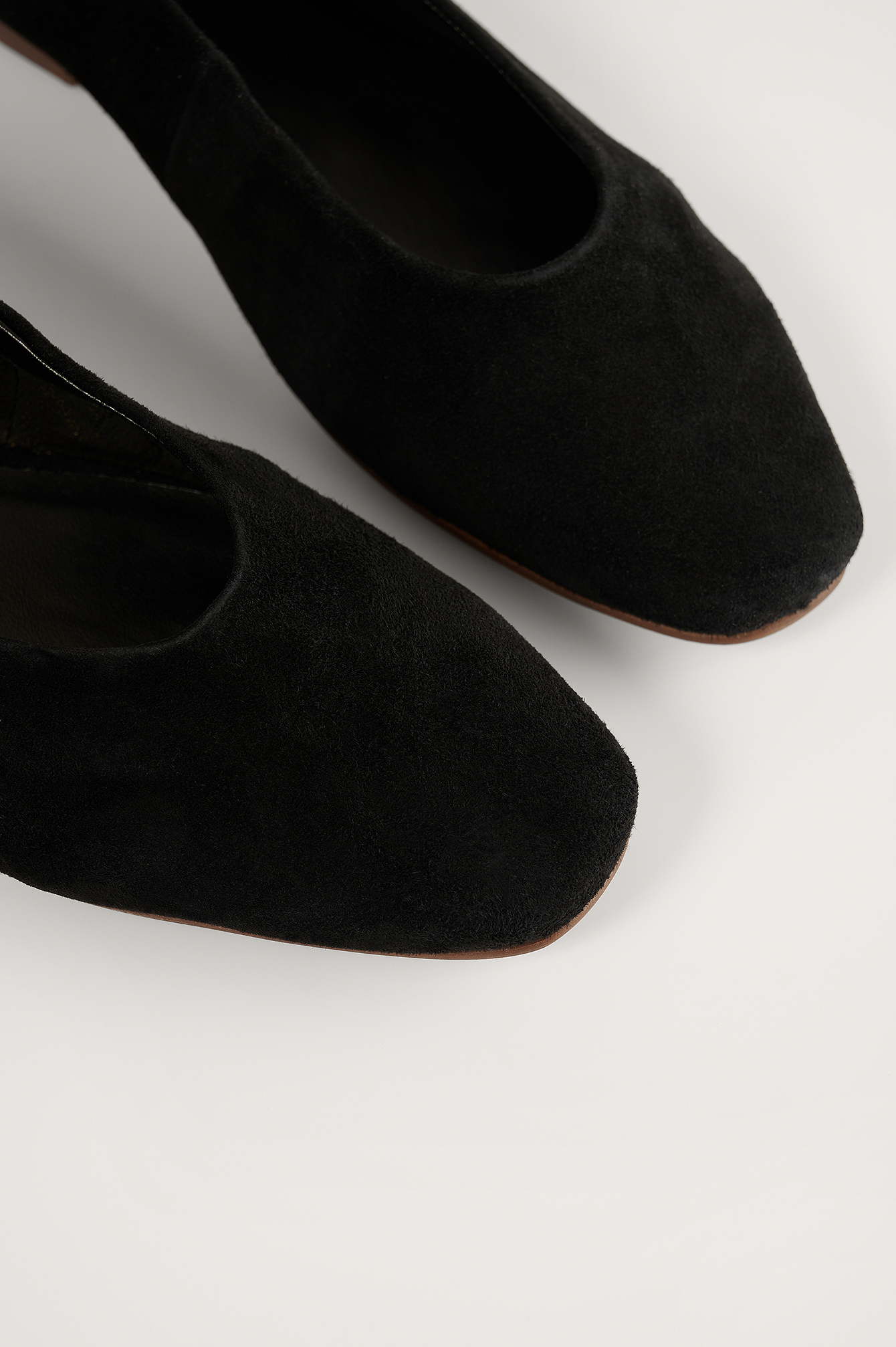 Black Soft Suede Ballerinas