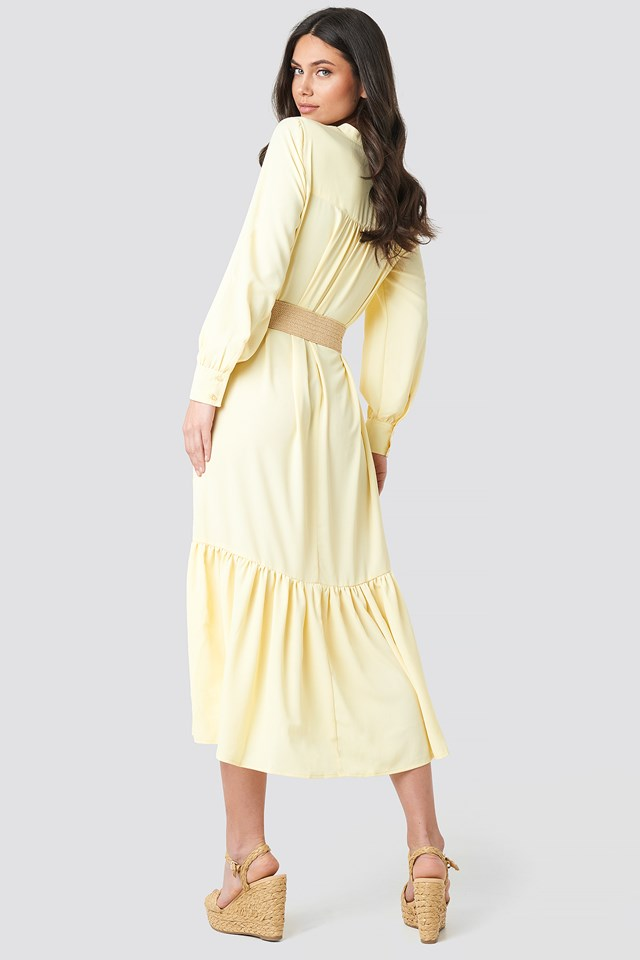 Solid Maxi Dress Light Yellow