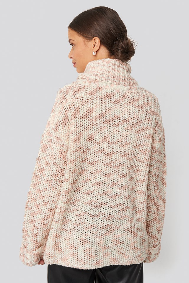 Space Dyed Pullover White/Dusty Pink