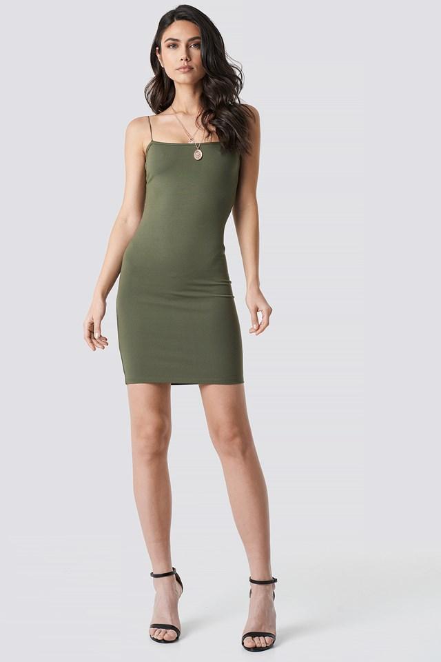 Spaghetti Strap Dress Khaki Green