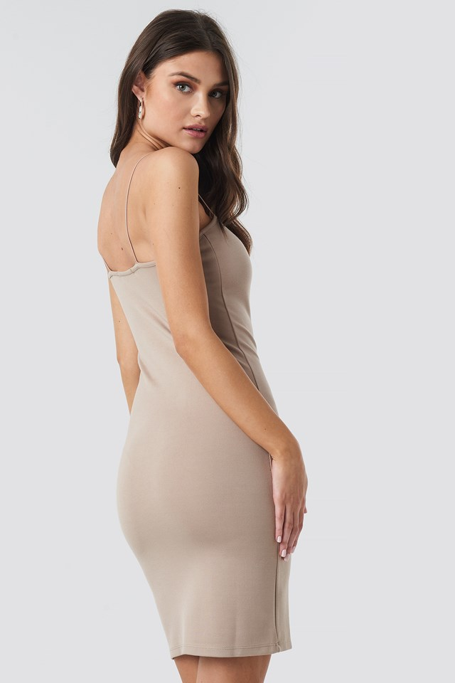 Spaghetti Strap Dress Dark Beige
