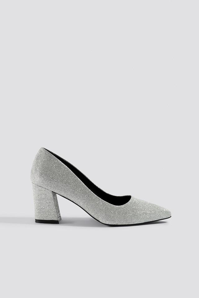Sparkling Block Heel Pumps Silver