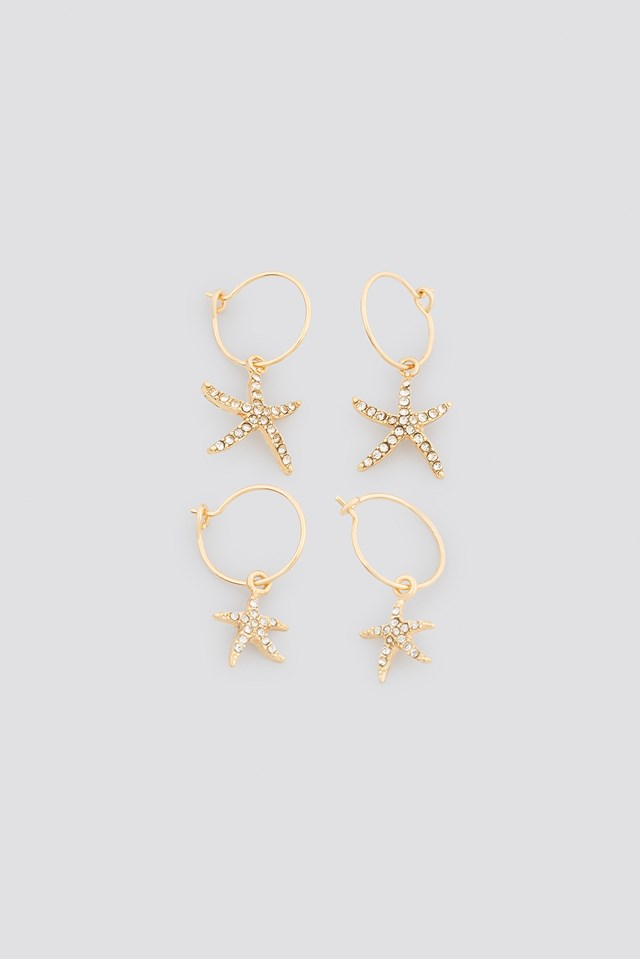 Sparkling Starfish Mini Hoops Gold