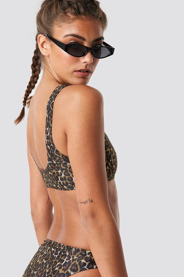 Sporty Bikini Top Dark Leo Print