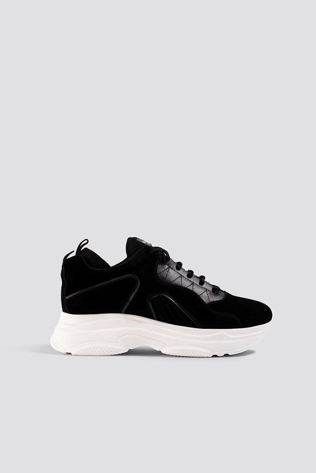 Sporty Faux Suede Sneakers Black