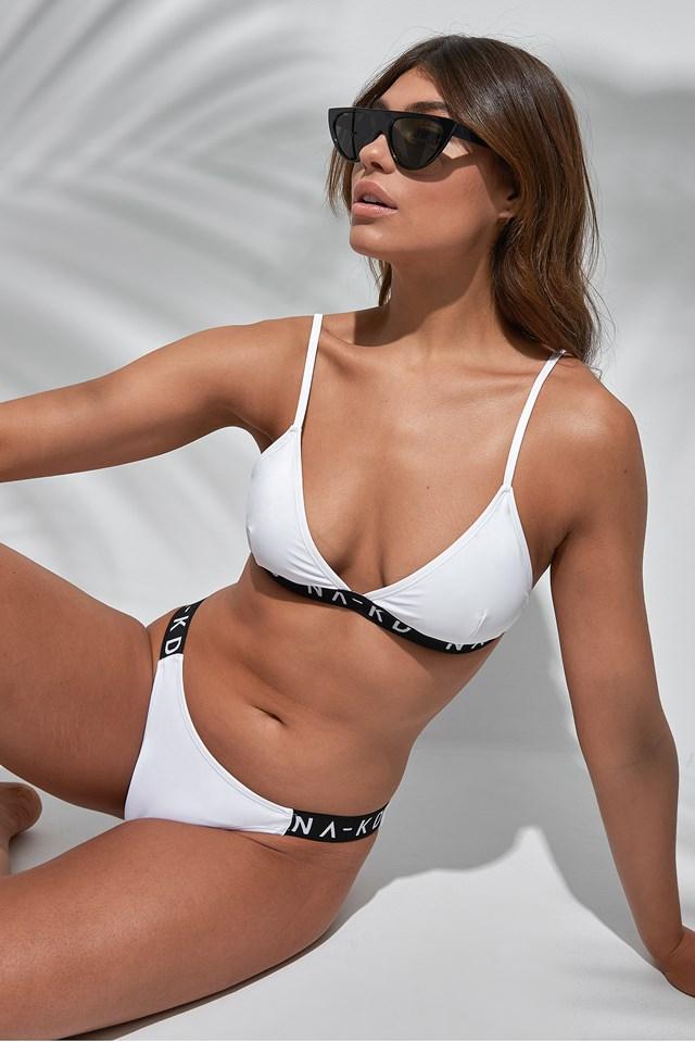 Sporty Logo Side Bikini Briefs White