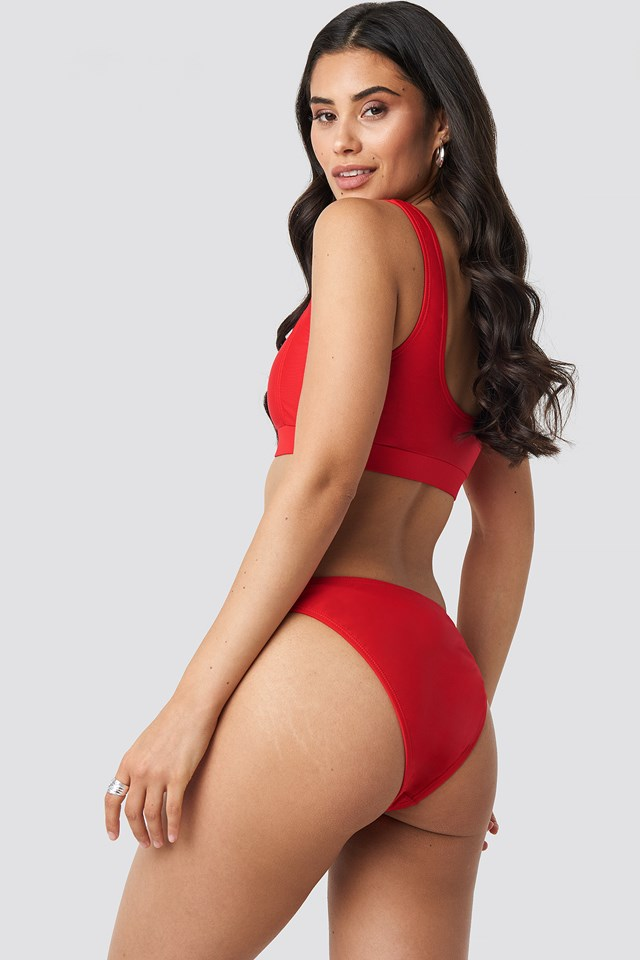 Square Neck Bandeau Top Red