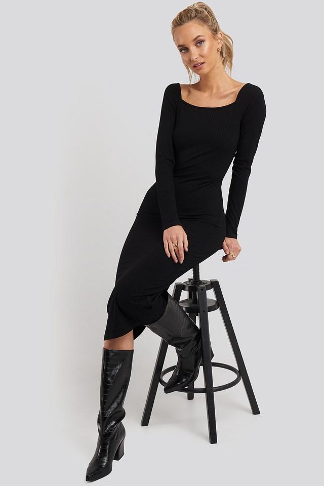 Square Neck Long Sleeve Ribbed Midi Dress NA-KD