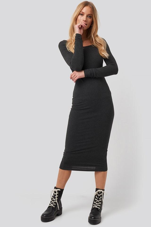 Square Neck Long Sleeve Ribbed Midi Dress Grey