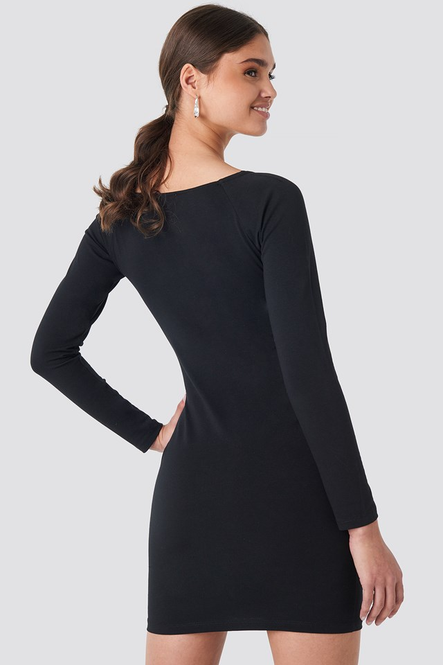 Square Neckline Fitted Dress Black