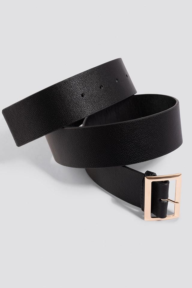 Squared Buckle Belt Black