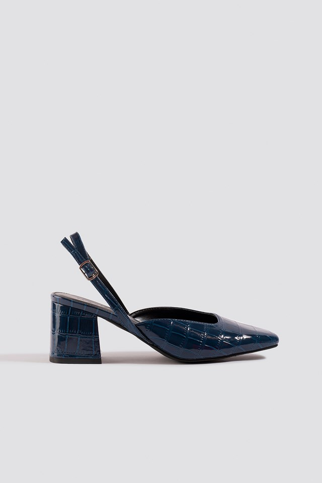 Squared Slingback Pumps Dark Blue