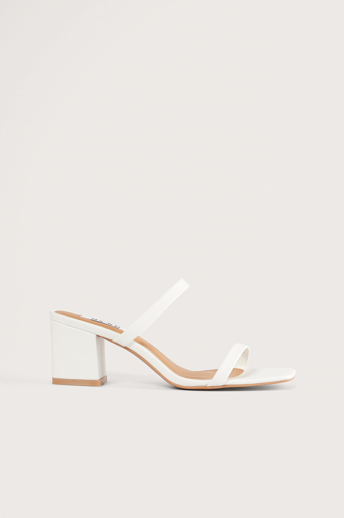 White Squared Two Strap Sandals