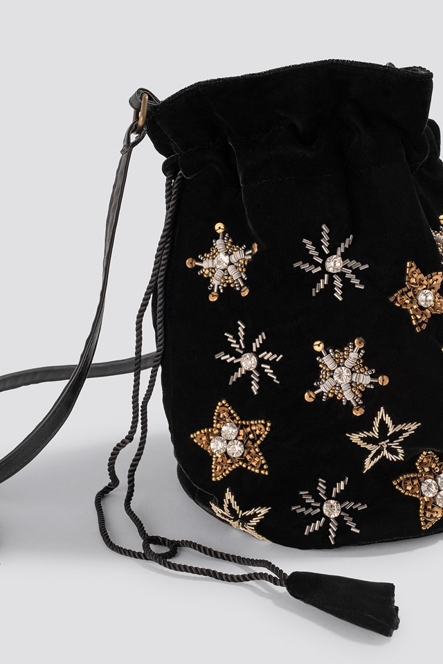 Star Embellished Pouch Bag Black