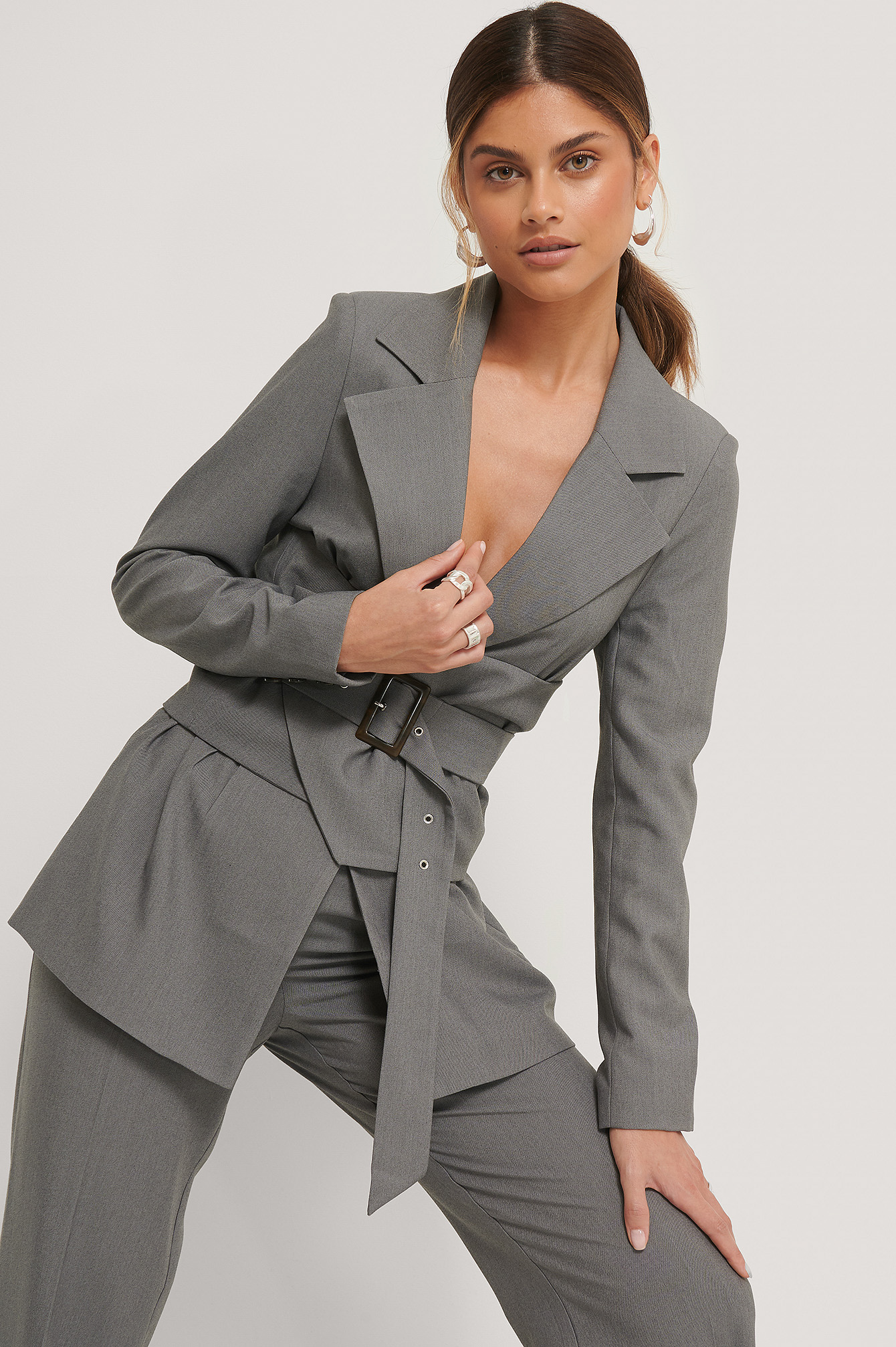 Dark Grey Waist Detailed Blazer