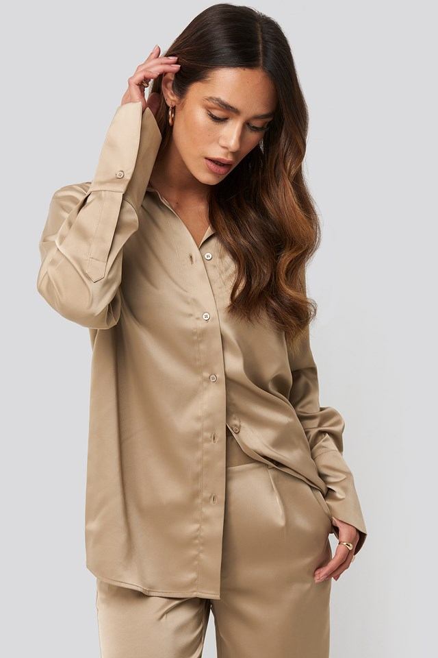 Straight Fitted Satin Blouse Beige