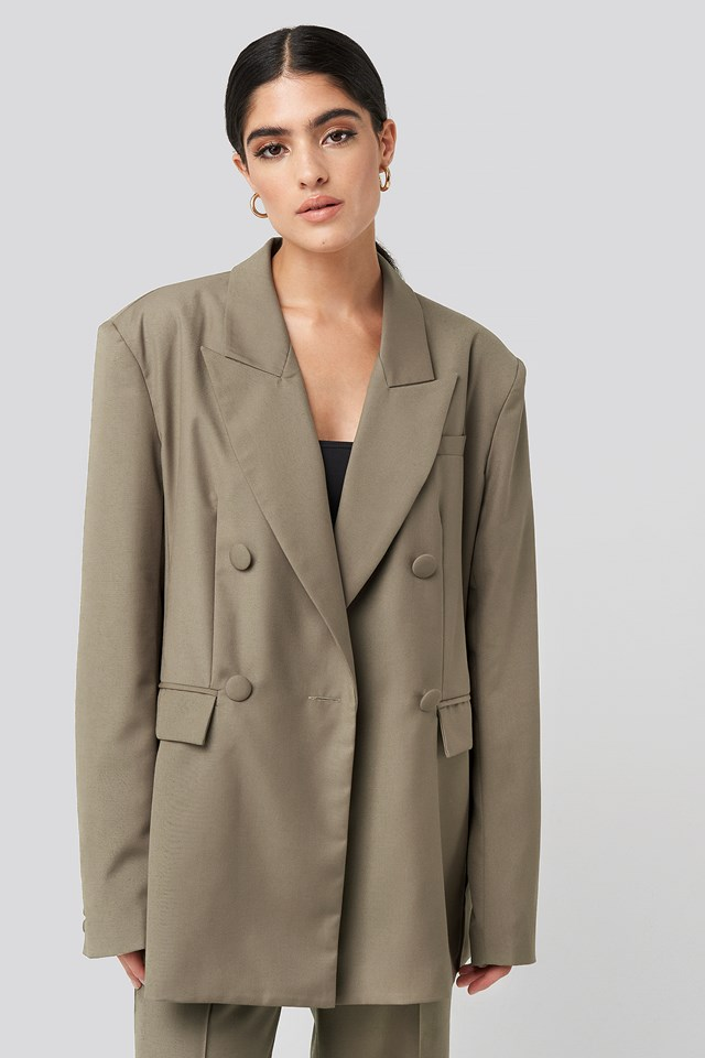 Straight Double Breasted Blazer Dark Sand