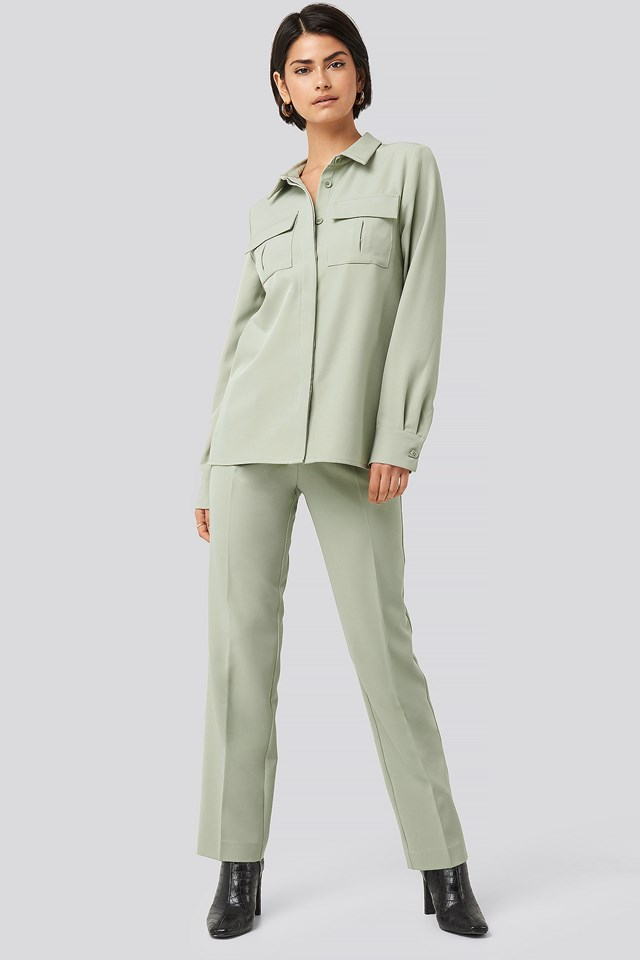Straight Fitted Overshirt Dusty Green