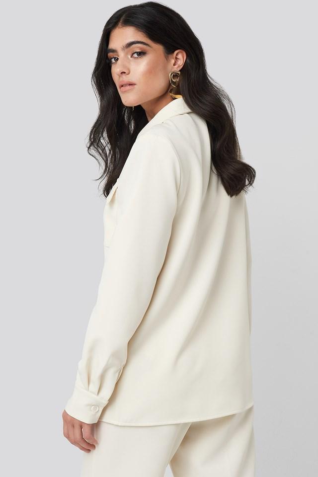 Straight Fitted Overshirt Cream