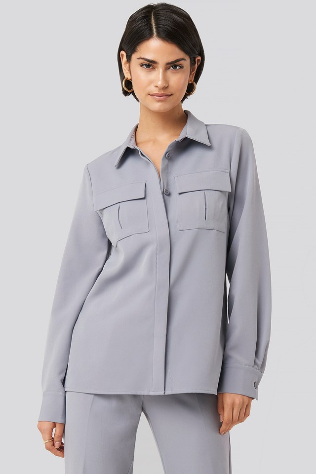 Straight Fitted Overshirt Dusty Blue