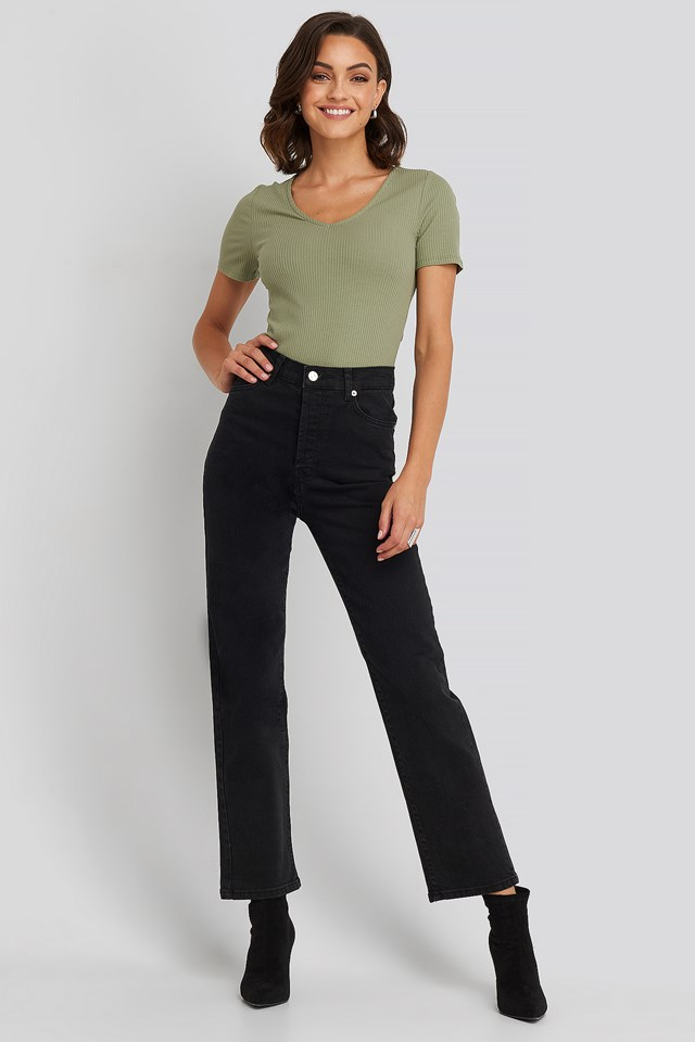 Straight High Waist Jeans Black