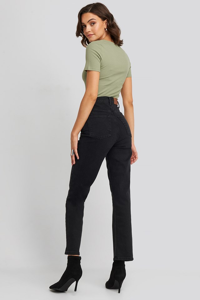 Straight High Waist Jeans Black