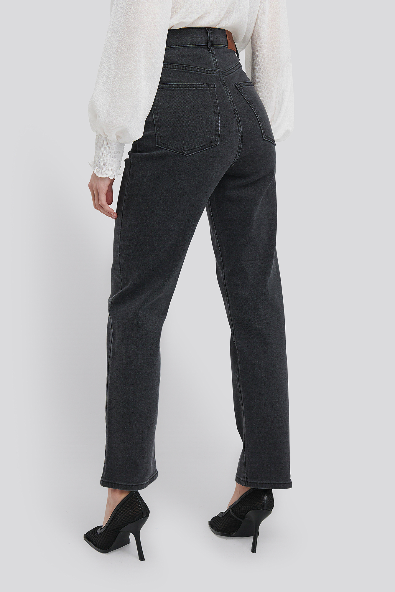 Dark Grey Straight High Waist Jeans