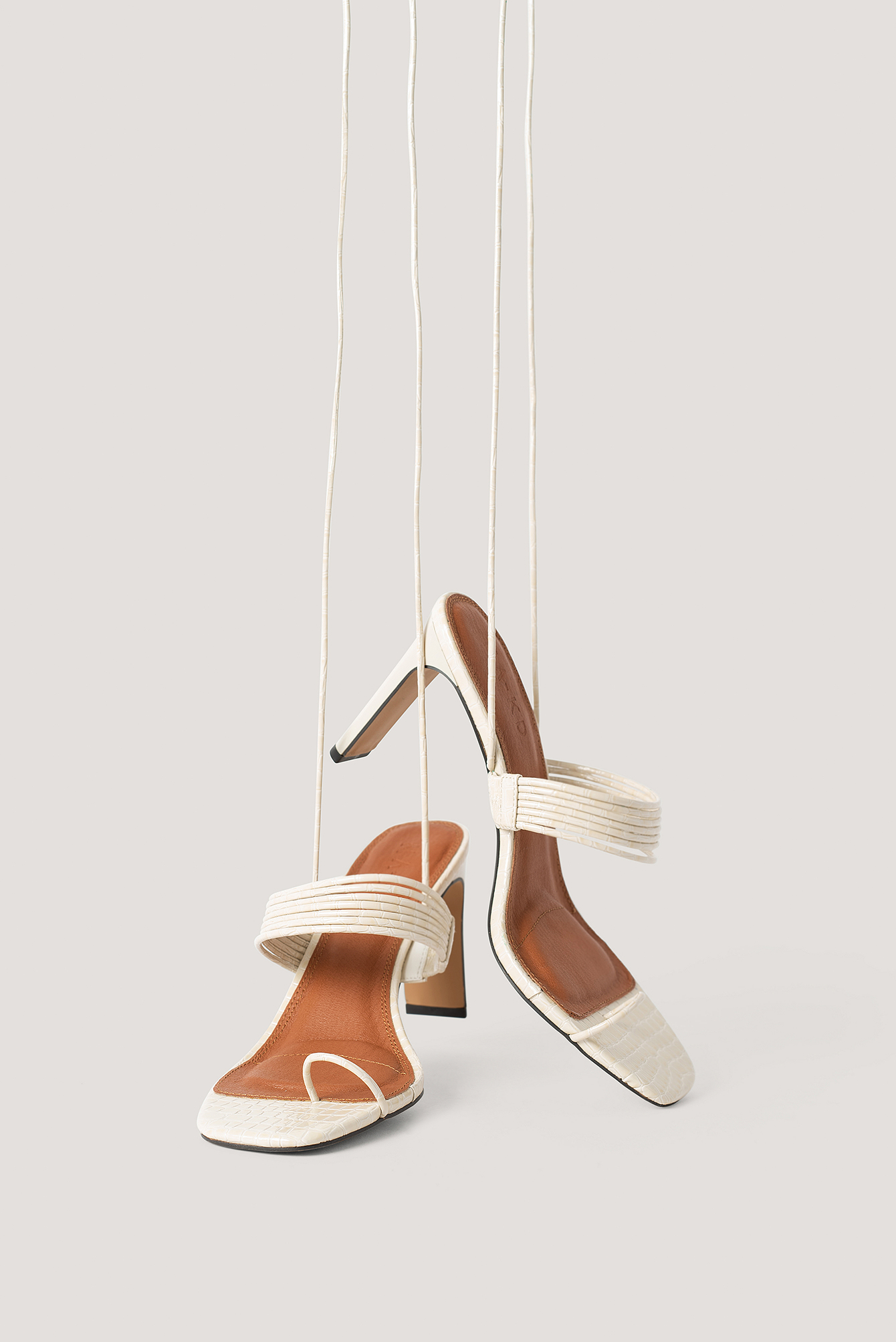 Offwhite Strappy Ankle Heels