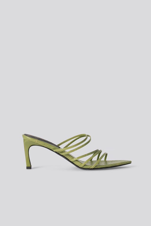 Strappy Pointy Sandals Green Croco