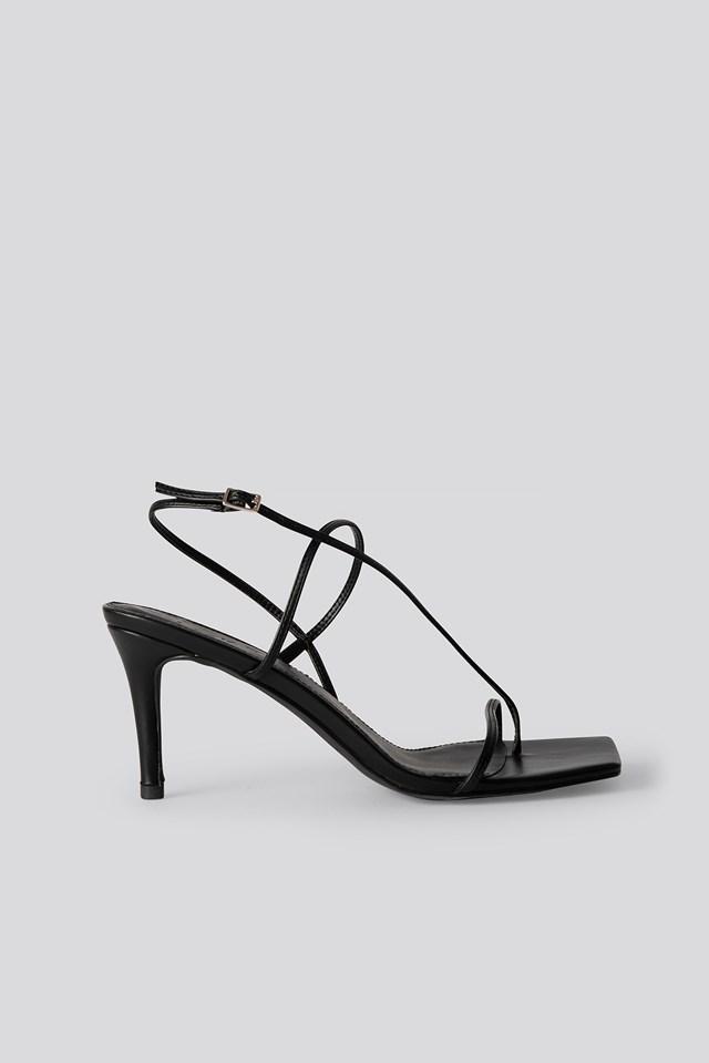 Strappy Stiletto Sandals Black