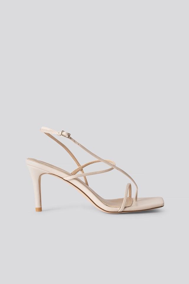 Strappy Stiletto Sandals Nude
