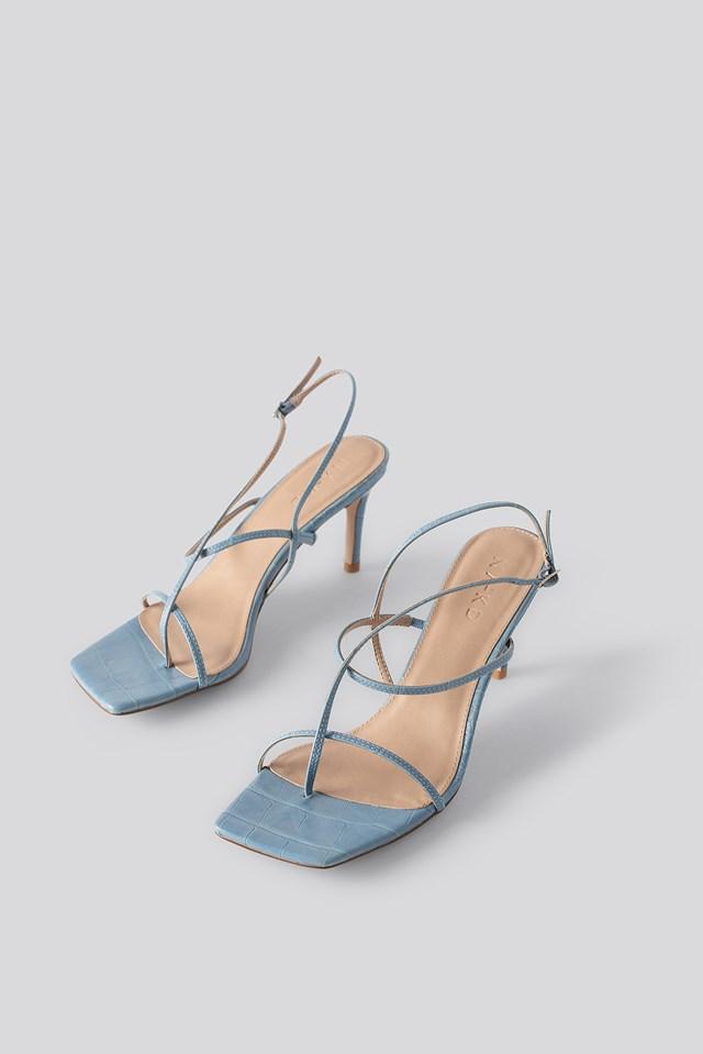 Strappy Stiletto Sandals Crocodile Print