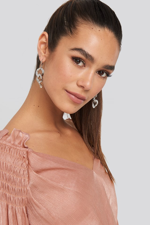 Strass Chain Earrings NA-KD Accessories