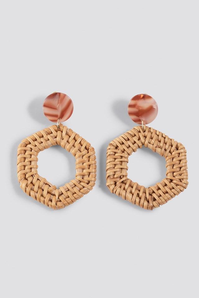 Straw Braided Hexagon Earrings Natural