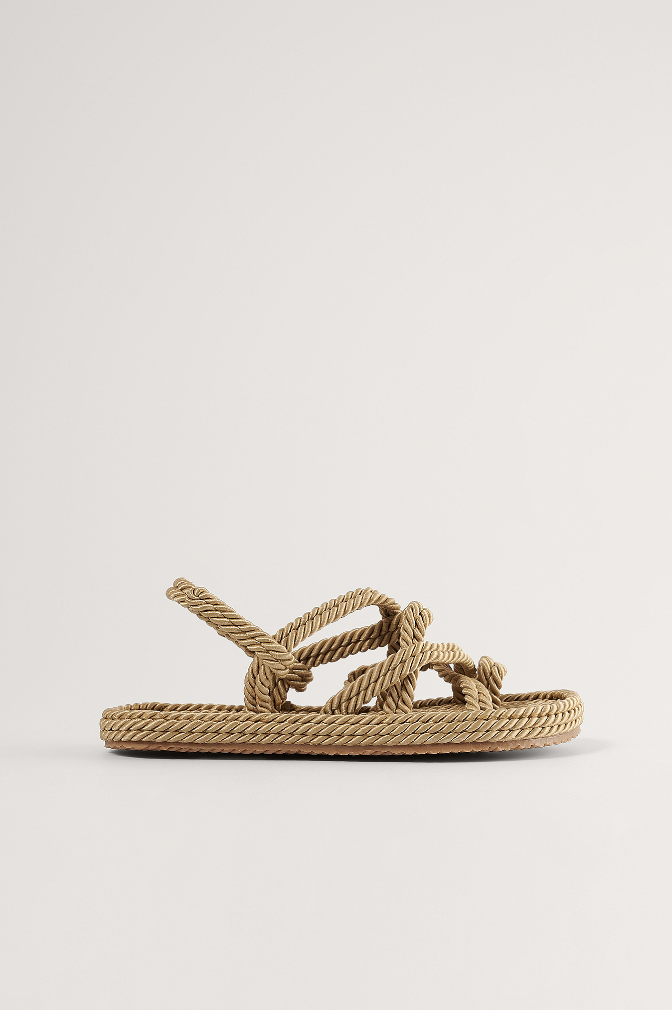 Beige Straw Rope Sandals