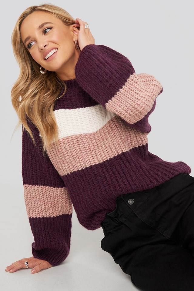 Striped Chunky Knitted Sweater NA-KD Trend