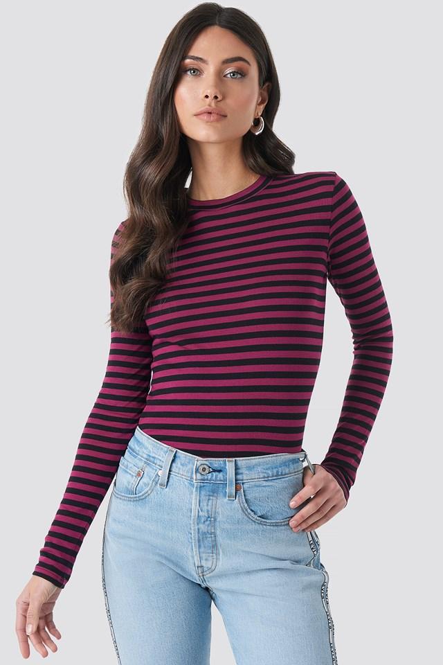 Striped Long Sleeve Top Burgundy
