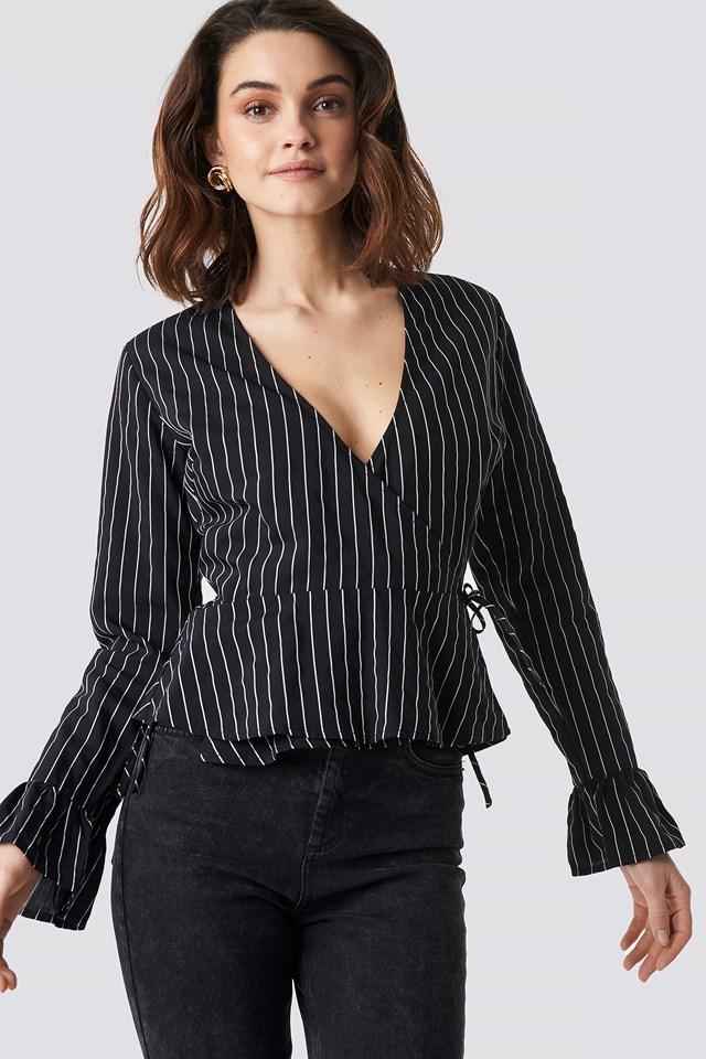 Striped Overlap Blouse Black