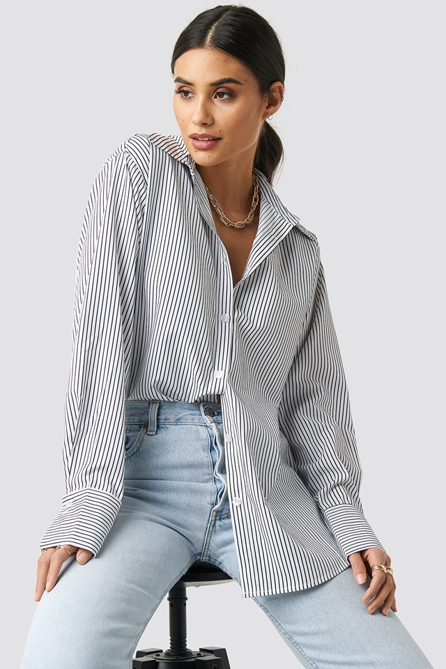 Striped Oversized Shirt White/Navy Stripes