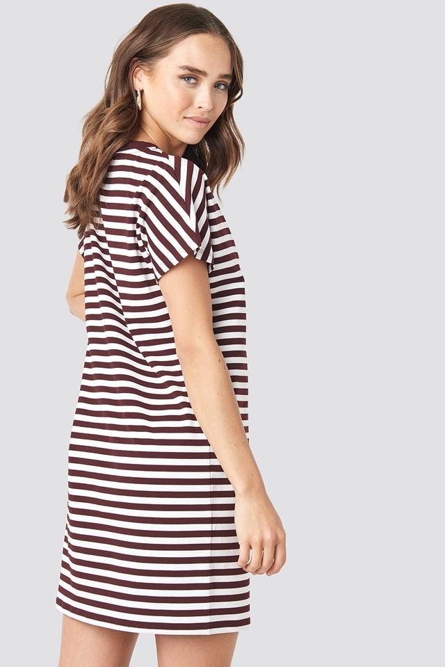 Striped Oversized T-shirt Dress Burgundy